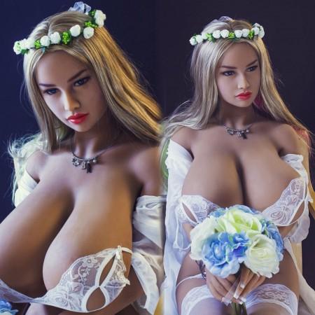 156cm 5.2ft Tan Skin Full Size Lifelike Solid Sex Doll with Metal Skeleton 3 Holes Love Doll Eliana