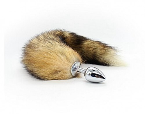 Anal Plug with Soft Wild Fox Tail Stainless Steel Anal Stimulator for Women