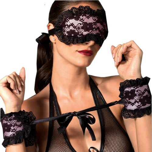 Exotic Apparel Lace Eye Mask With Handcuffs Sex Toy For Couples Play