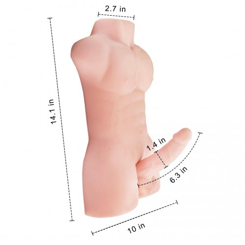 Realistic Full Silicone Male 3D Torso Half Body With Big Dildo Sex Doll For Men Women Sex Toys Long Penis Adult Love Doll